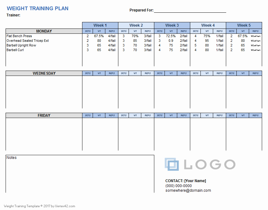 Excel Training Schedule Template New Download A Free Weight Training Plan Template that You Can