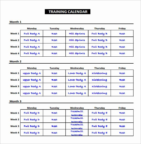 Excel Training Schedule Template New Workout Schedule Template Excel – Printable Schedule Template