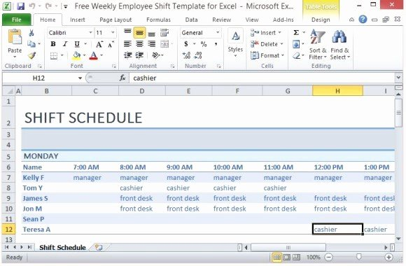 Excel Work Schedule Template Awesome Free Weekly Employee Shift Template for Excel