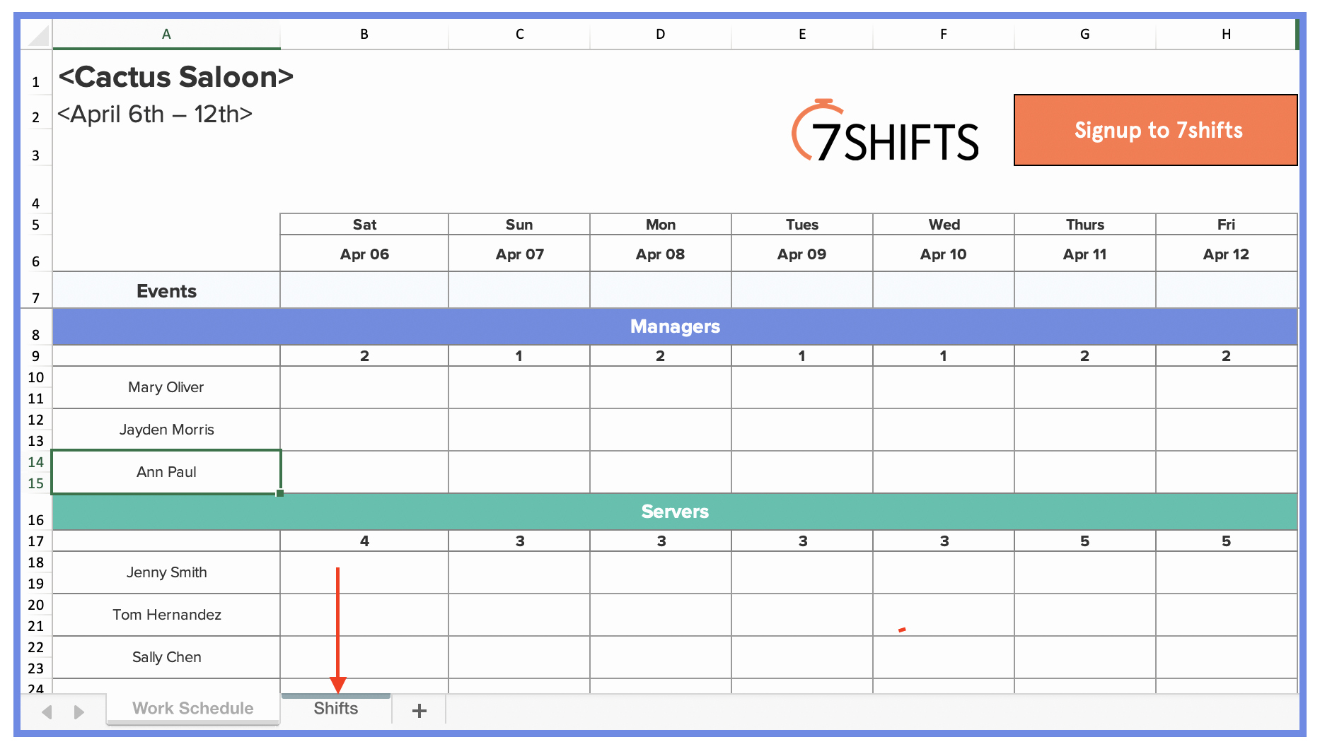 Excel Work Schedule Template Beautiful How to Make A Restaurant Work Schedule with Free Excel