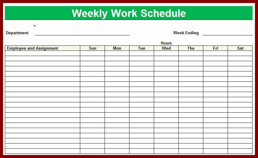 Excel Work Schedule Template Beautiful Weekly Employee Shift Schedule Template Excel