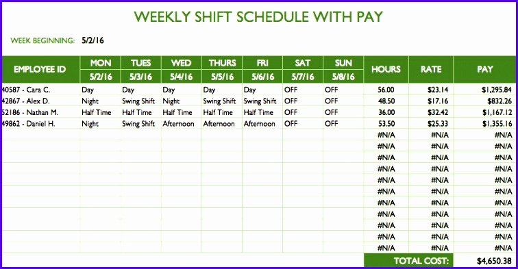 Excel Work Schedule Template Best Of 12 Weekly Schedule Template Excel Free Exceltemplates