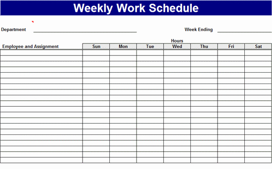 Excel Work Schedule Template Fresh Weekly Work Schedule Excel Template format – Analysis Template