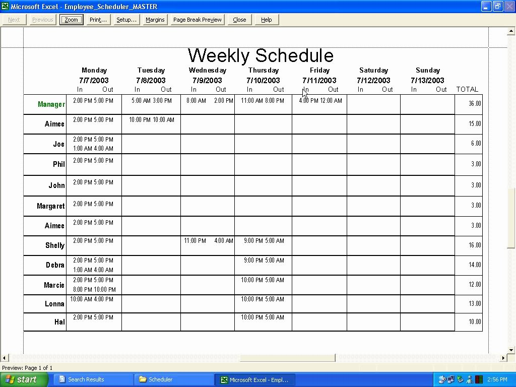 Excel Work Schedule Template Lovely Employee Schedule Template