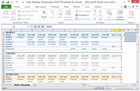 Excel Work Schedule Template Lovely Free Weekly Employee Shift Template for Excel