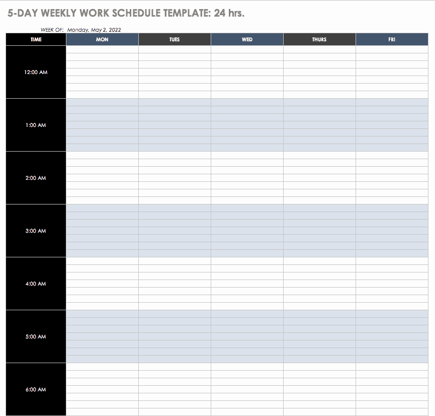 Excel Work Schedule Template New Free Work Schedule Templates for Word and Excel Smartsheet