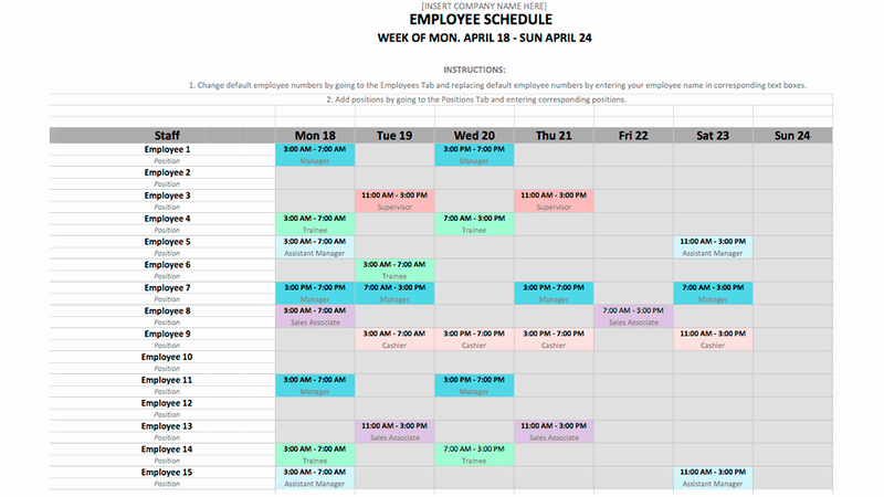 Excel Work Schedule Template Unique Employee Schedule Template In Excel and Word format