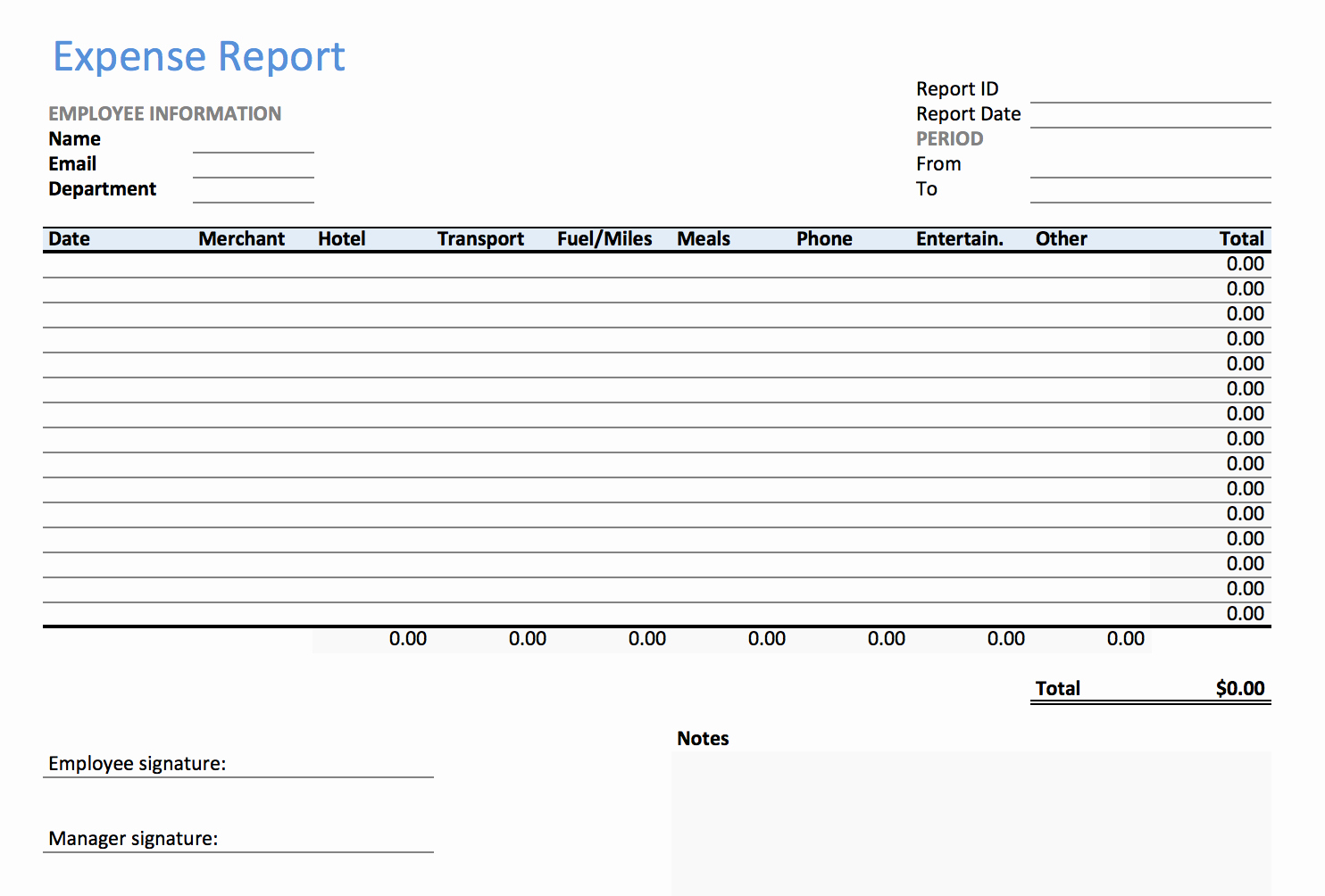Expense form Template Excel Awesome Excel Expense Report Template Keepek