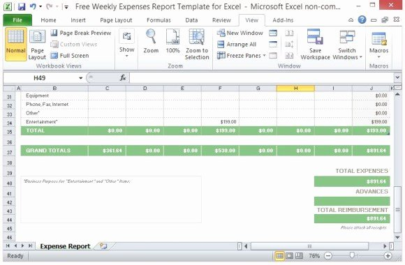Expense form Template Excel Best Of Free Weekly Expenses Report Template for Excel