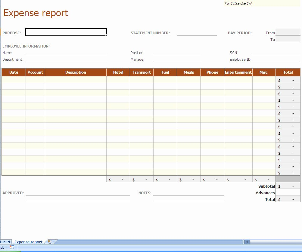 Expense form Template Excel Fresh Expense Report Excel Template