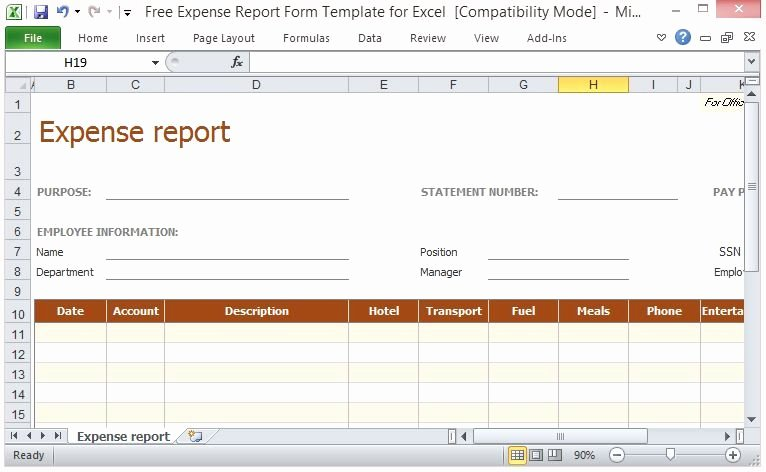 Expense form Template Excel Fresh Free Expense Report form Template for Excel