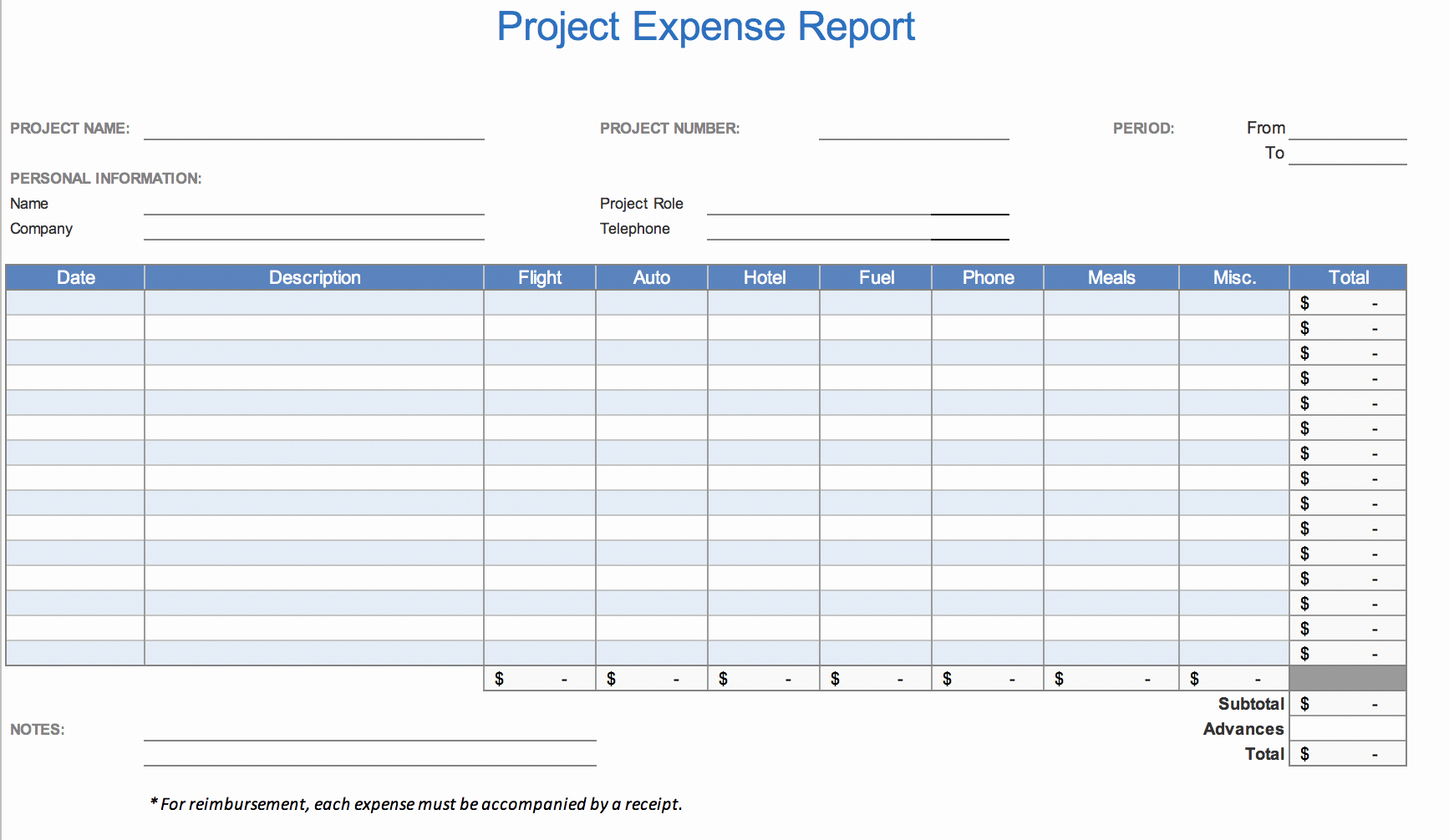 Expense form Template Excel Fresh the 7 Best Expense Report Templates for Microsoft Excel