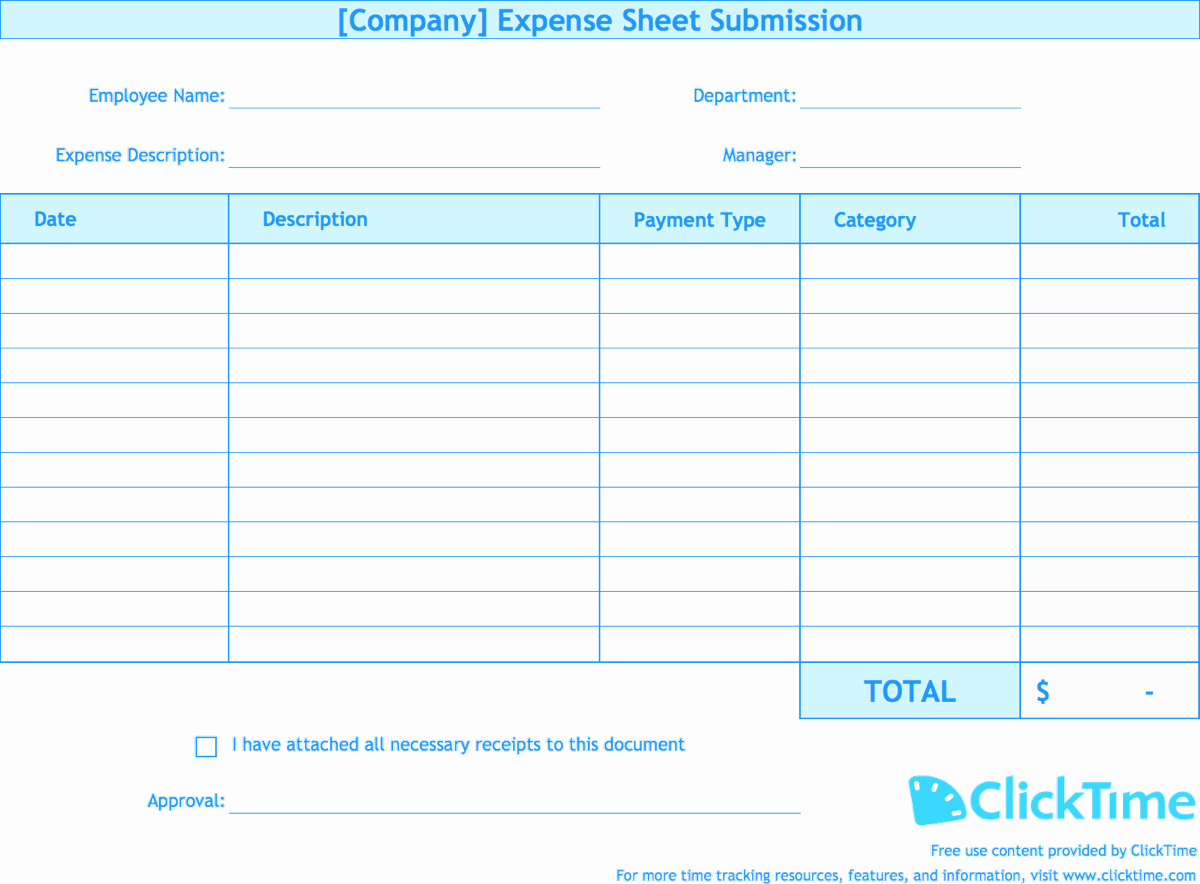 Expense form Template Excel Inspirational Expense Report Template