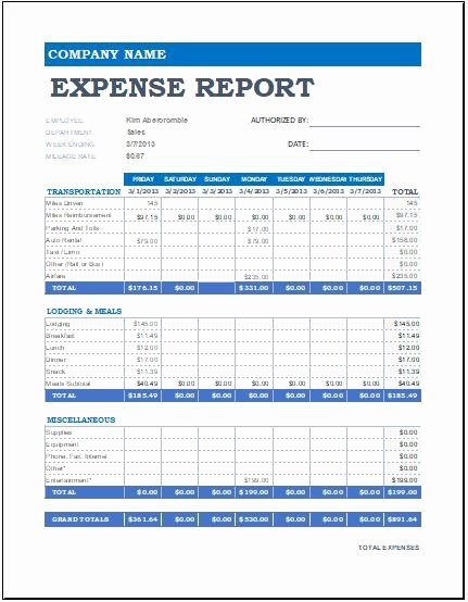 Expense form Template Excel Lovely Expense Report Templates for Ms Excel