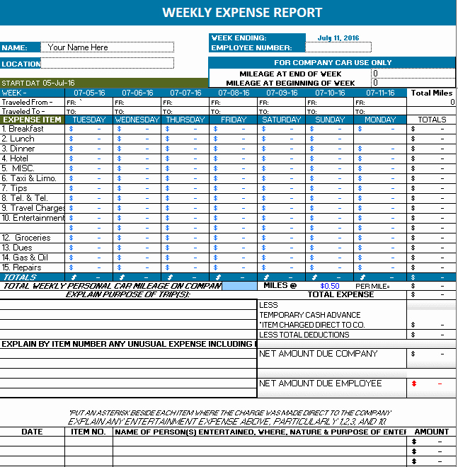 Expense form Template Excel Luxury Ms Excel Weekly Expense Report
