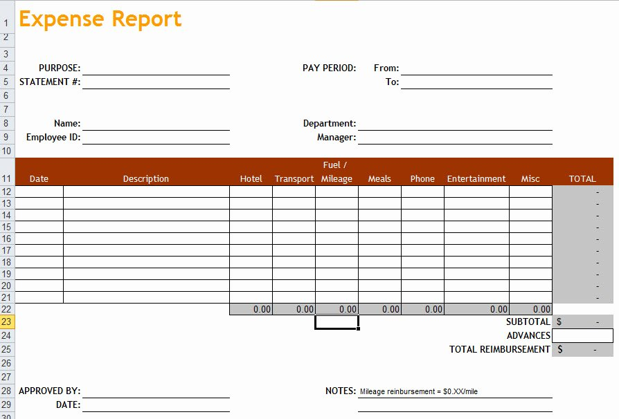 Expense form Template Excel New Expense Report Template In Excel