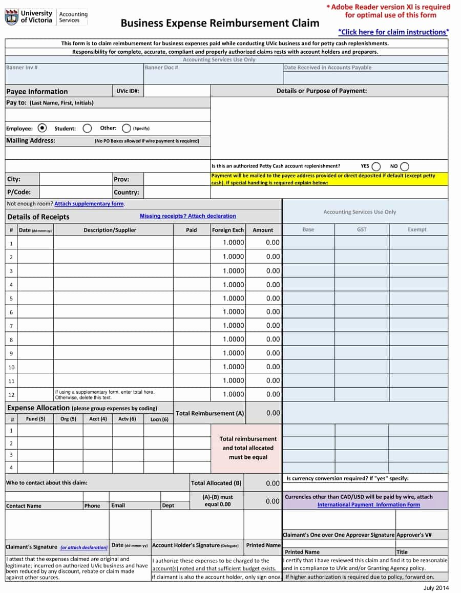 Expense Reimbursement form Template Awesome 47 Reimbursement form Templates [mileage Expense Vsp]
