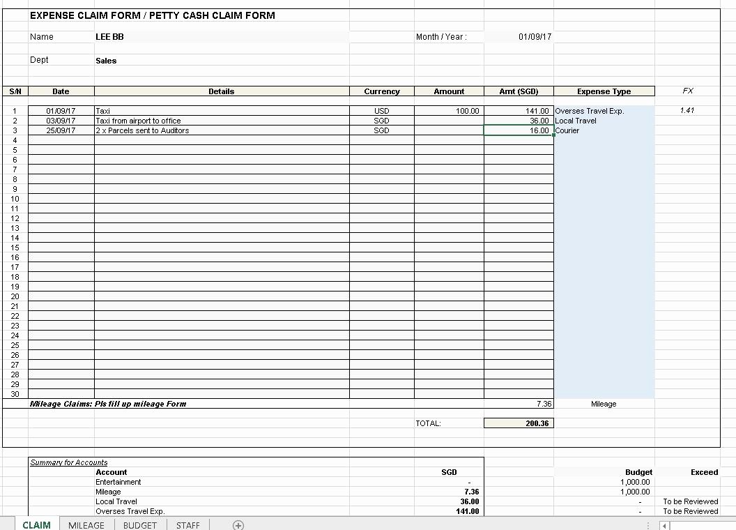 Expense Reimbursement form Template Lovely Expense Claim Template Excel4routine