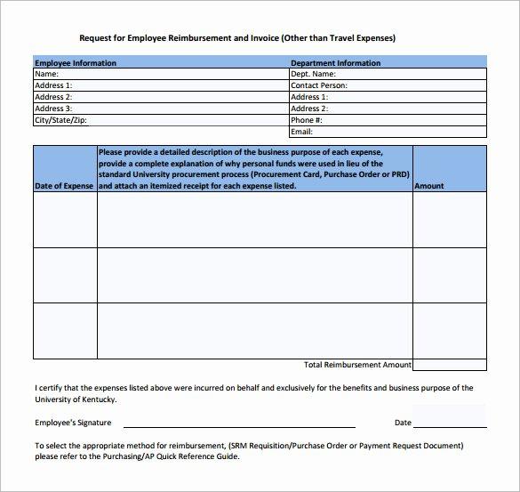 Expense Reimbursement form Template Lovely Expense Reimbursement form Templates