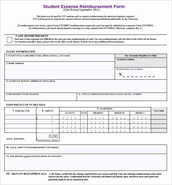 Expense Reimbursement form Template New Expense Reimbursement form Templates