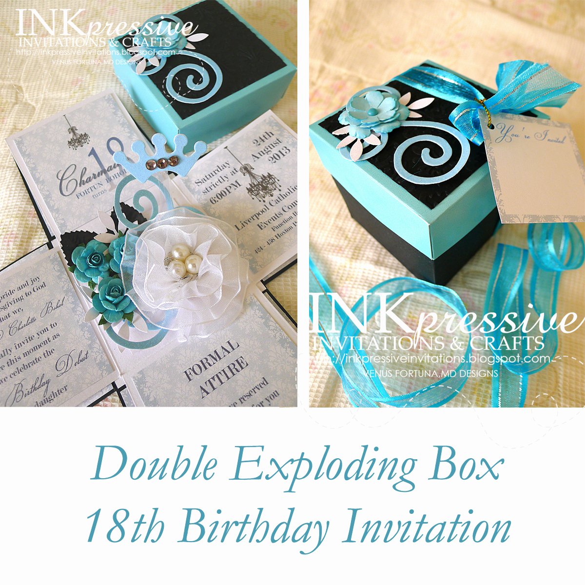 Exploding Box Invitation Template Awesome Teal and Black Exploding Box 18th Birthday Inkpressive