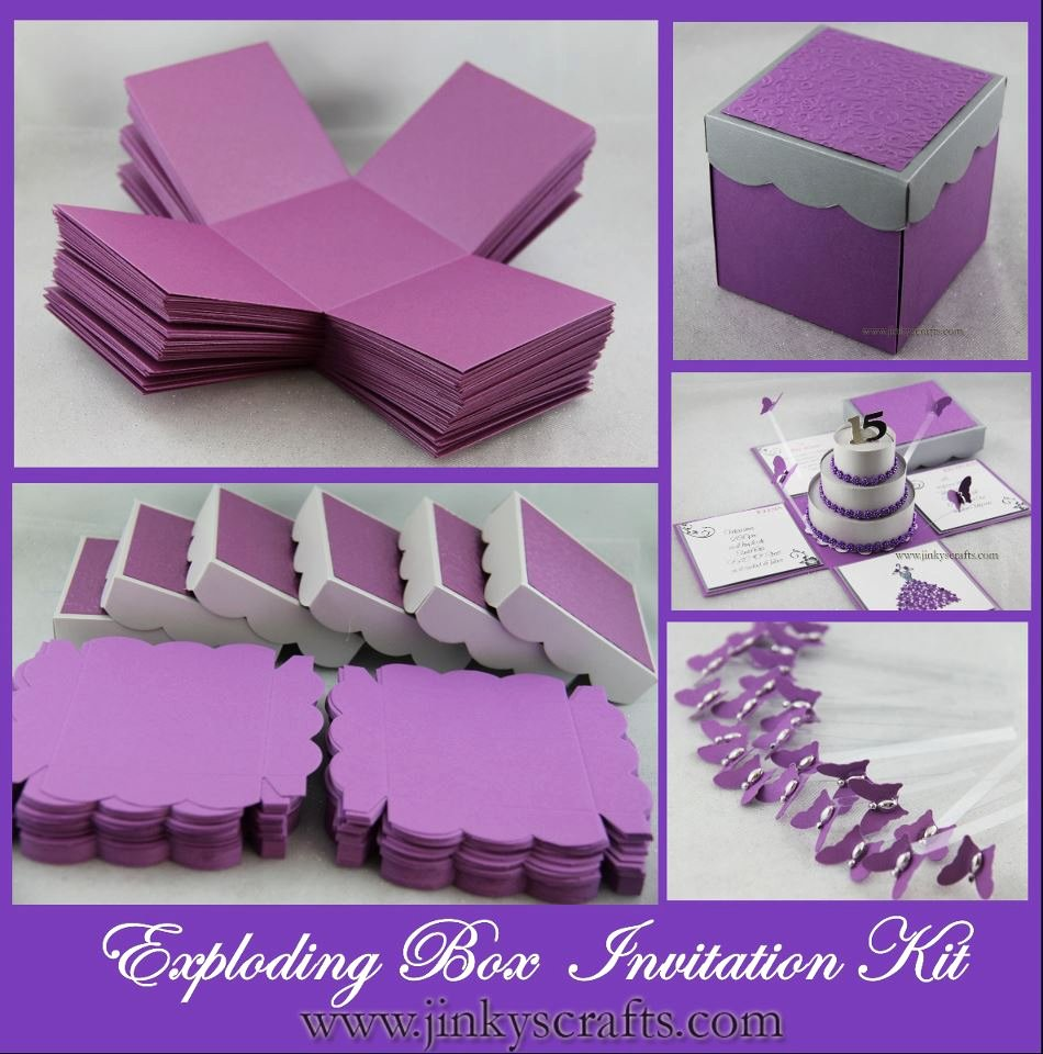 Exploding Box Invitation Template Unique Purple Fuchsia & Black Mis Quince Exploding Box