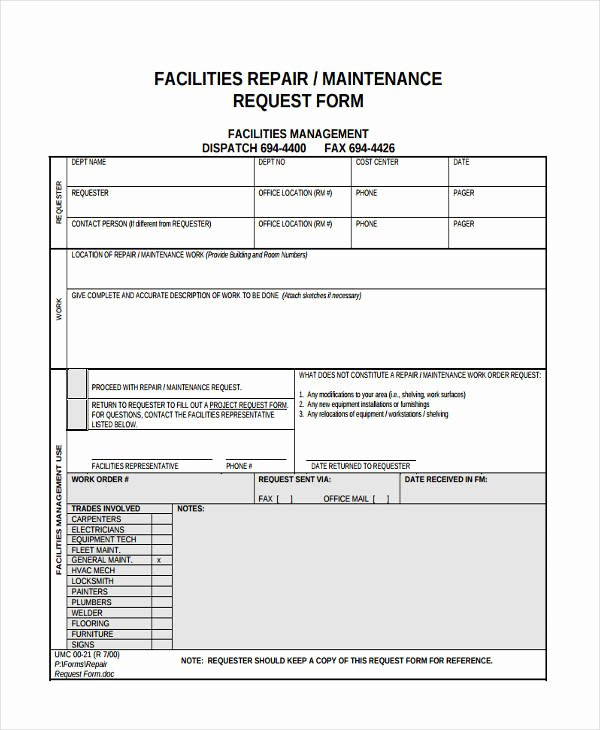 Facility Maintenance Plan Template Awesome Free 11 Maintenance Request forms In Samples Examples