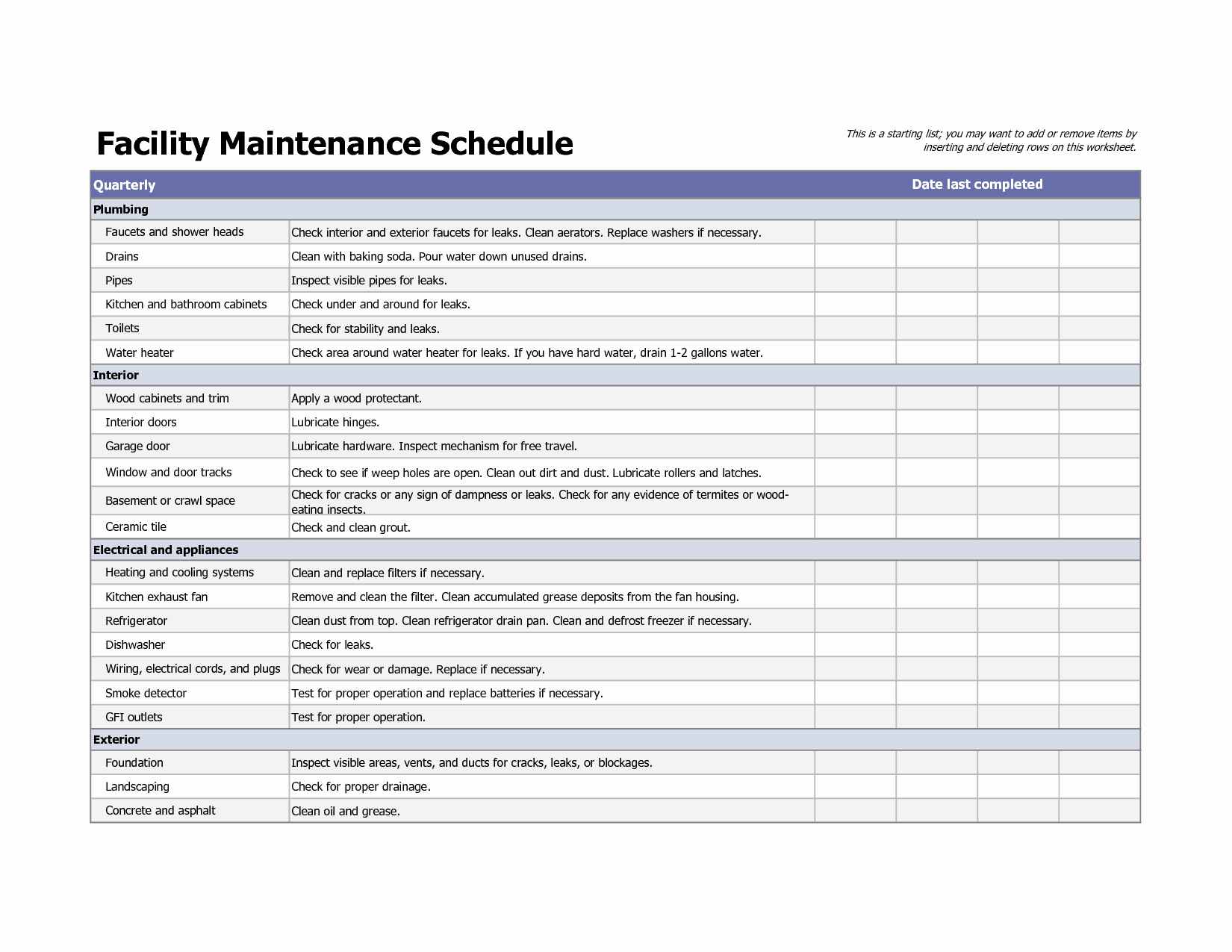 Facility Maintenance Plan Template Elegant 4 Facility Maintenance Checklist Templates Excel Xlts