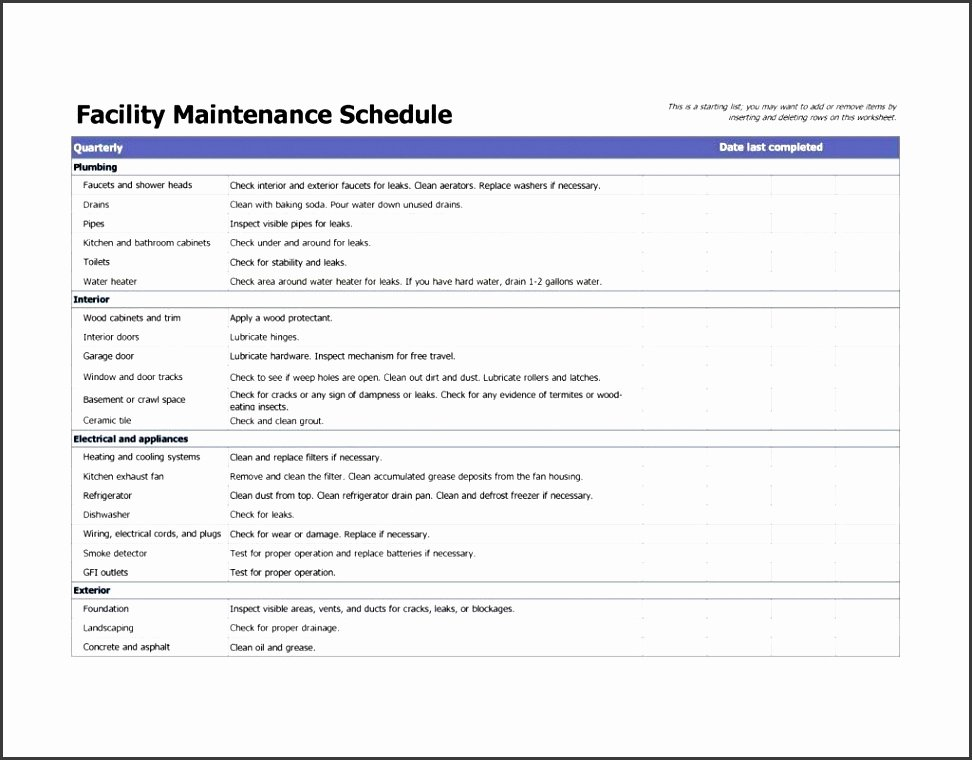 Facility Maintenance Plan Template Fresh 7 Facility Maintenance Checklist Template