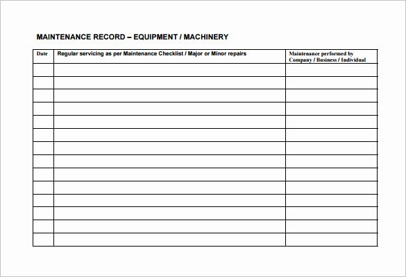 Facility Maintenance Plan Template Inspirational Equipment Maintenance Schedule Template Excel – Planner