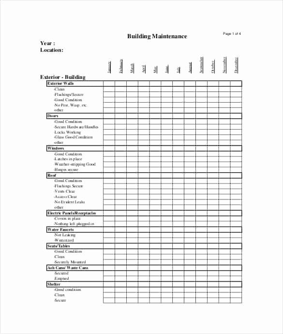 Facility Maintenance Plan Template Luxury 7 Facility Maintenance Checklist Templates Excel Templates