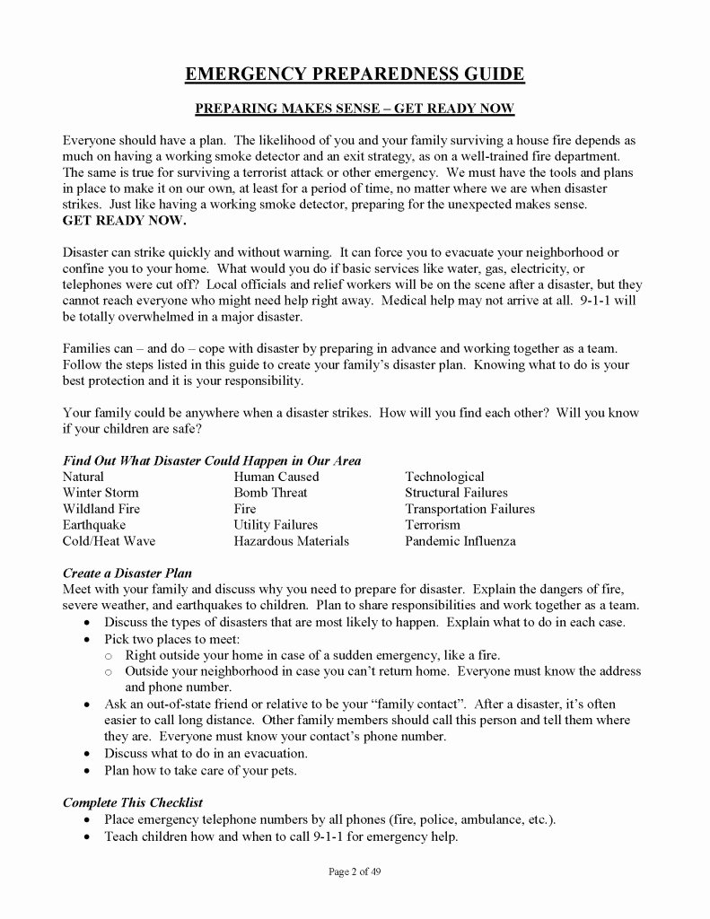 Family Disaster Plan Template Best Of Family Emergency Preparedness