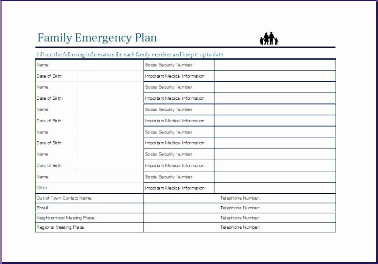 Family Disaster Plan Template Lovely 10 Family Emergency Plan Sheet Exceltemplates