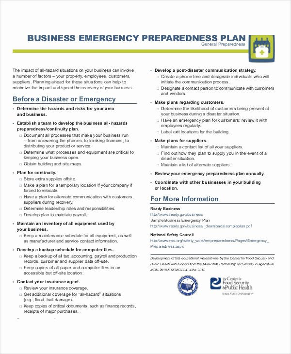 Family Emergency Preparedness Plan Template Awesome Free 29 Emergency Plan Examples In Pdf