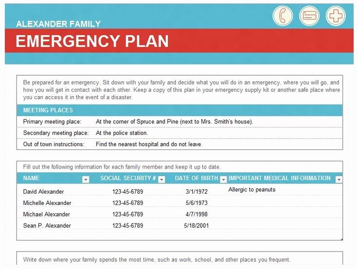 Family Emergency Preparedness Plan Template Fresh Emergency Family Plan