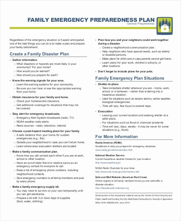 Family Emergency Preparedness Plan Template Inspirational Free 29 Emergency Plan Examples In Pdf