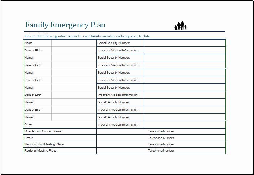 Family Emergency Preparedness Plan Template Lovely Family Emergency Plan Template Ms Excel