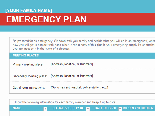 Family Emergency Preparedness Plan Template New Family Emergency Plan Fice Templates