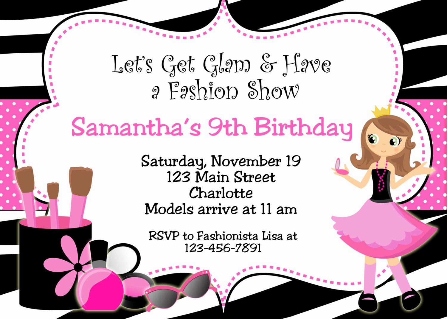 Fashion Show Invitation Template Fresh Fashion Show Birthday Party Invitations — Free Invitation