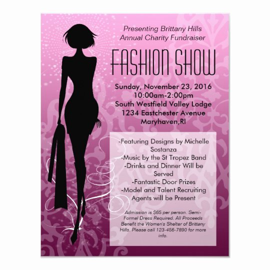 Fashion Show Invitation Template Fresh Pink Swirl Silhouette Fashion Show Invitations