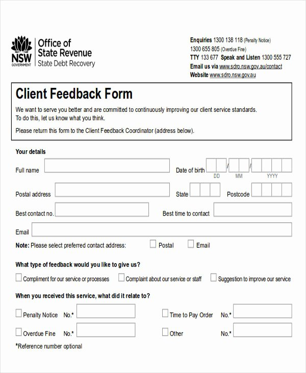 Feedback form Template Word Awesome Sample Client Feedback form In Word 8 Examples In Word