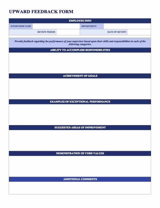 Feedback form Template Word Best Of Free Employee Performance Review Templates Smartsheet