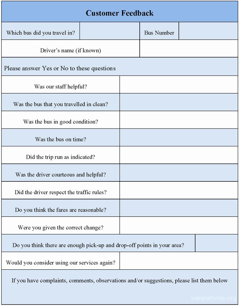 Feedback form Template Word Inspirational Customer Feedback form Sample forms