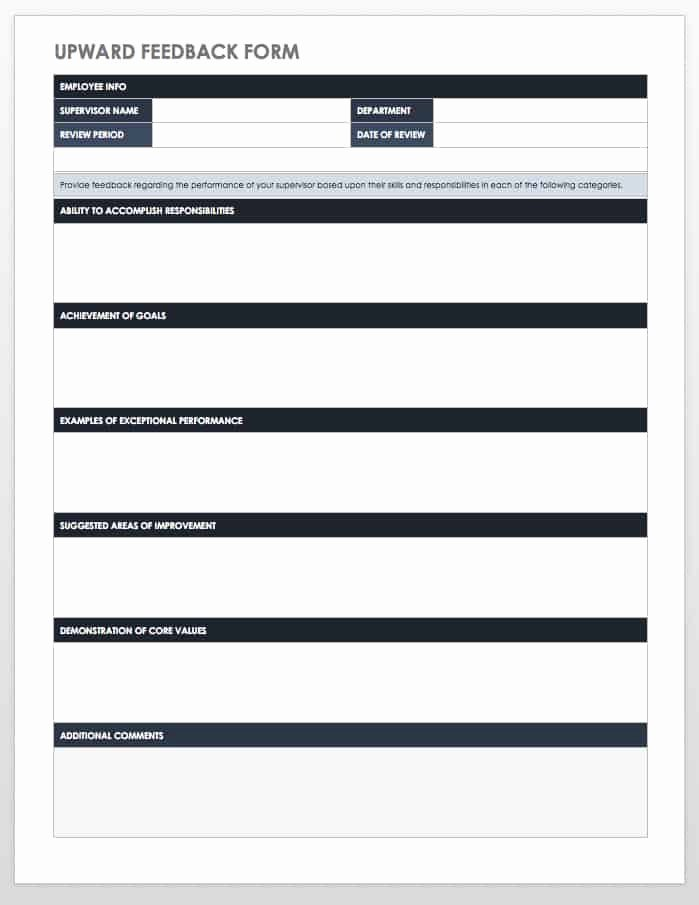 Feedback form Template Word Inspirational Free Employee Performance Review Templates