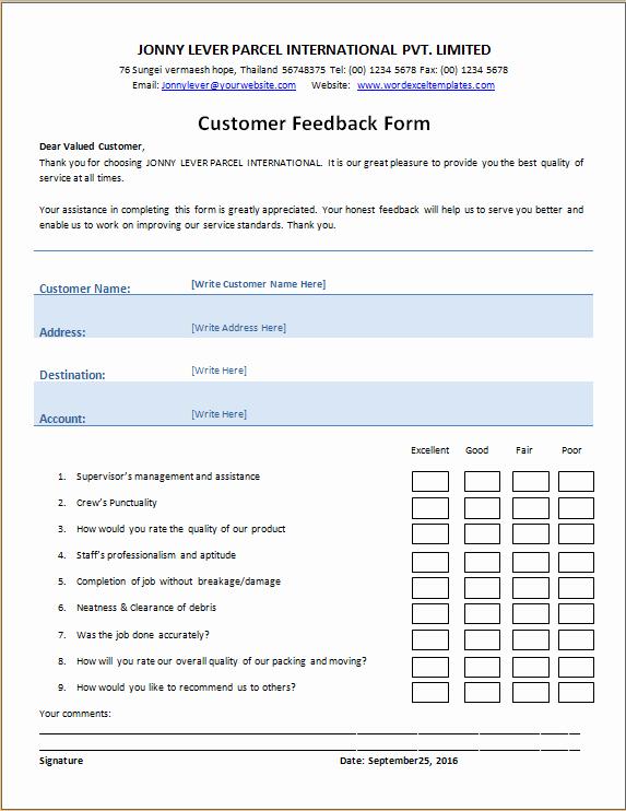 Feedback form Template Word New Customer S Feedback form