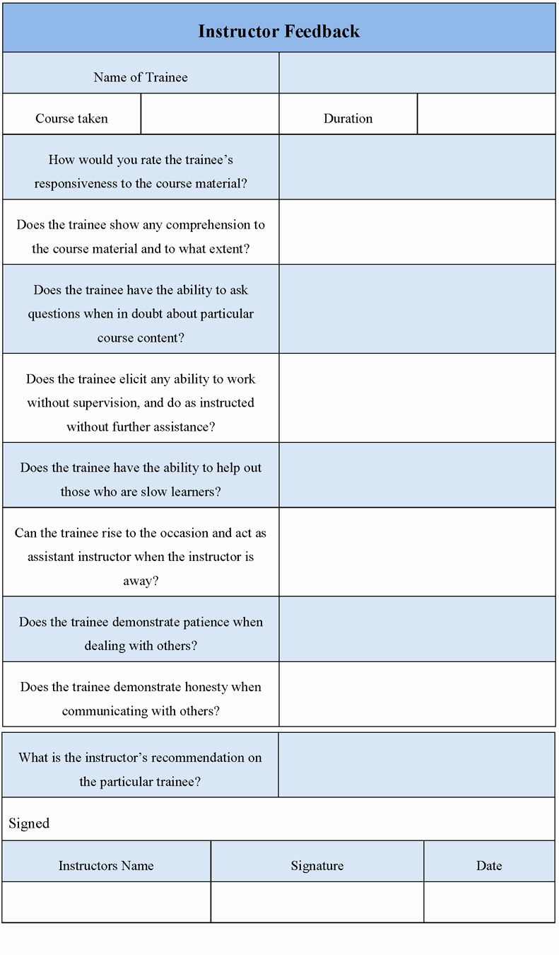 24 images of instructor teacher feedback form template 2