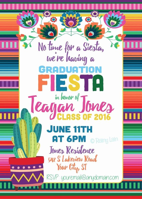 Fiesta Party Invitation Template Beautiful Fiesta Graduation Invitation Printable Fiesta Invite