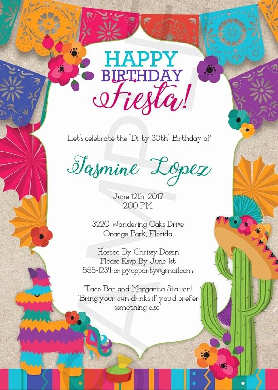 Fiesta Party Invitation Template Best Of Birthday Fiesta Mexican Style Party Invitation Template