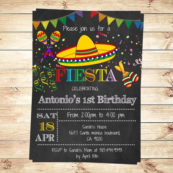 Fiesta Party Invitation Template Elegant Birthday Mexican Fiesta Party Invitations Printable