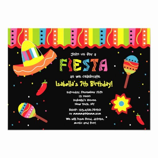 Fiesta Party Invitation Template Elegant Mexican Fiesta Birthday Party Invitations